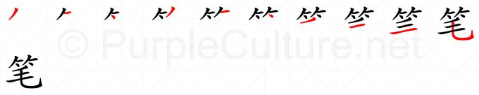 Stroke order image for Chinese character 笔