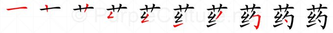 Stroke order image for Chinese character 药
