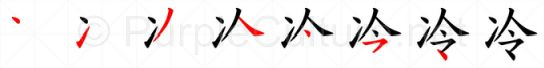 Stroke order image for Chinese character 冷