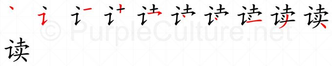 Stroke order image for Chinese character 读