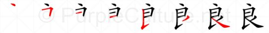 Stroke order image for Chinese character 良
