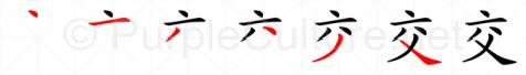 Stroke order image for Chinese character 交