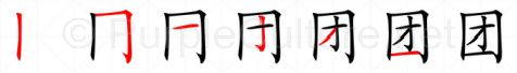 Stroke order image for Chinese character 团
