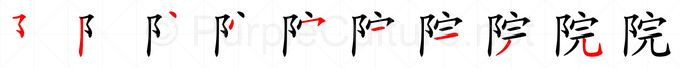 Stroke order image for Chinese character 院