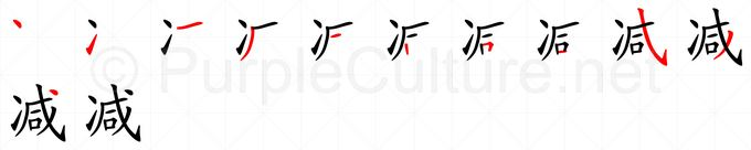 Stroke order image for Chinese character 减