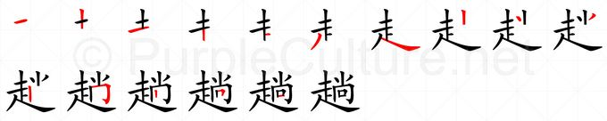 Stroke order image for Chinese character 趟