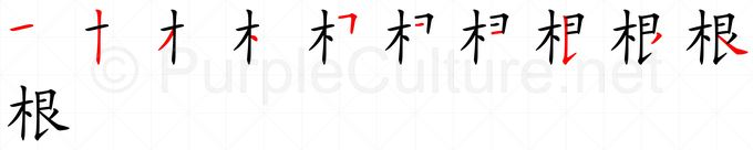 Stroke order image for Chinese character 根