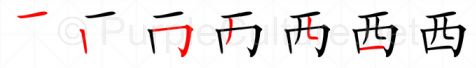 Stroke order image for Chinese character 西