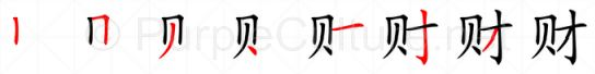 Stroke order image for Chinese character 财