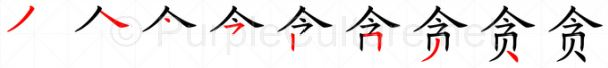 Stroke order image for Chinese character 贪