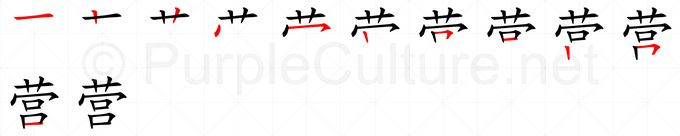 Stroke order image for Chinese character 营