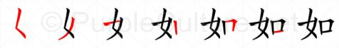 Stroke order image for Chinese character 如