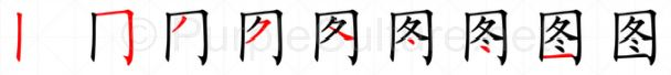 Stroke order image for Chinese character 图