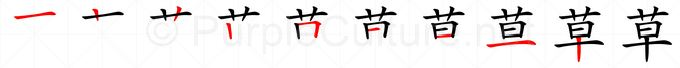 Stroke order image for Chinese character 草