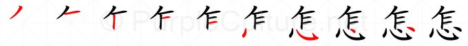 Stroke order image for Chinese character 怎