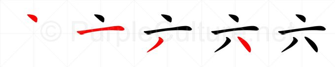 Stroke order image for Chinese character 六