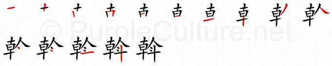 Stroke order image for Chinese character 斡