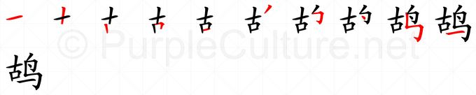 Stroke order image for Chinese character 鸪