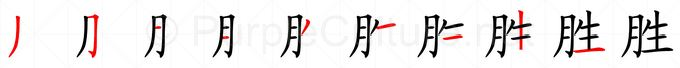 Stroke order image for Chinese character 胜