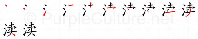 Stroke order image for Chinese character 渎