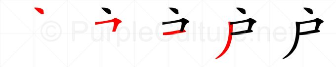 Stroke order image for Chinese character 户