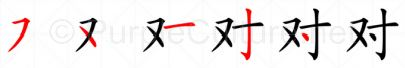 Stroke order image for Chinese character 对