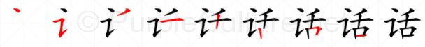 Stroke order image for Chinese character 话