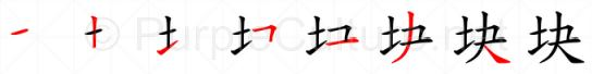 Stroke order image for Chinese character 块