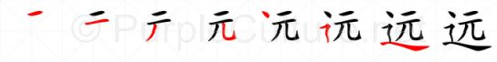 Stroke order image for Chinese character 远
