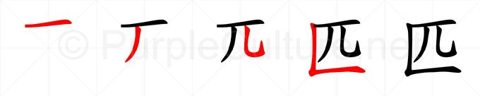 Stroke order image for Chinese character 匹
