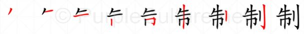 Stroke order image for Chinese character 制