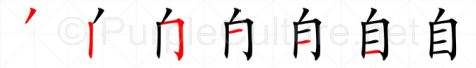 Stroke order image for Chinese character 自
